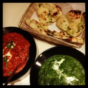 Butter Chicken, Palak Paneer with Garlic Naan