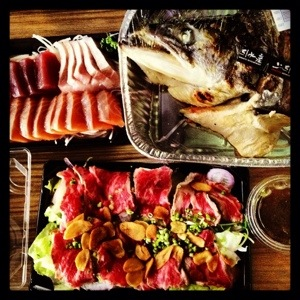 Sashimi, Beef Sashimi and Salmon Head