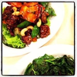 Gong Bao Monkey Head Mushrooms and Sambal Sweet Potato Leaf