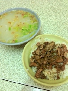 Beehoon Soup and Minced Pork Rice