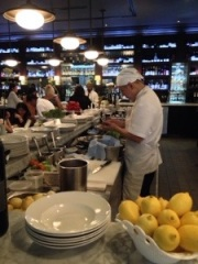 Chef at salad station