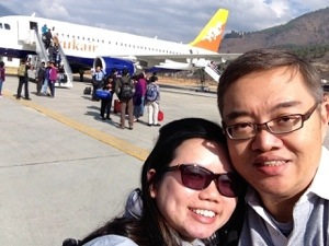 Happy couple landing in Paro
