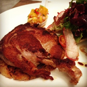 The Duck Confit on Apple Roesti with Mango Relish