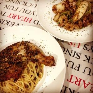 Pesto Pasta and  Garlic Herb Chicken Pasta