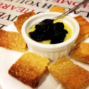 Lemon Curd with Shortcake Biscuit and Cherry Sauce
