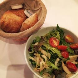 Very hard bread and fresh salad