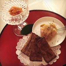 German rye bread, and honey baked ham with apple sauce