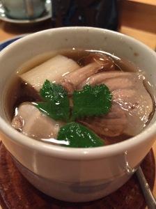 Negima - soup with tuna, leek, onions and toufu