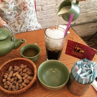Iced Vietnamese Coffee and hot Lapsang Souchong Tea