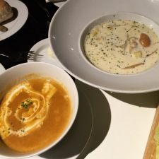 Clam Chowder and Prawn Bisque