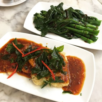 Deep Fried Fish Topped with Spicy Sauce and Hong Kong Collard Greens with Oyster Sauce