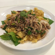 Omelette Soufe with Spicy Minced Pork