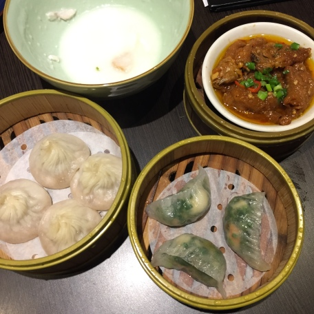 Steamed Prawn and Chive Dumpling, Steamed Chicken Claw with Black Bean, Steamed Shanghai Pork Dumpling