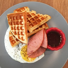 Breakfast Waffle with Honey Baked Ham