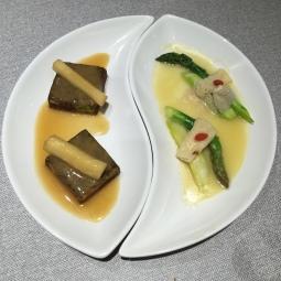 Fa Cai Edamame Tofu with Mountain Yam 发菜豆腐拌铁棍山药 and Wild Bamboo Fungus with Asparagus 野生竹笙扒露笋