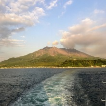 Sakurajima basking in the evening sun