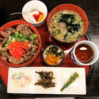 肥後の馬か丼 (そば) (Higo Umakadon) Higo Horse Meat Rice Bowl with Soba