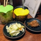 Unlimited Tsukemono Pickled Cabbage and Takao's specialty, Konbu Mentai, or Kelp and Cod Roe